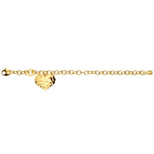 Bracciale con charm cuore piatto argento dorato Facco Gioielli