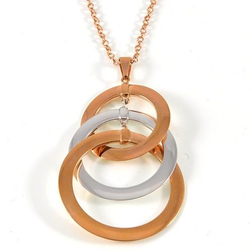 unoaerre girocollo in oro con ciondolo cerchi intrecciati