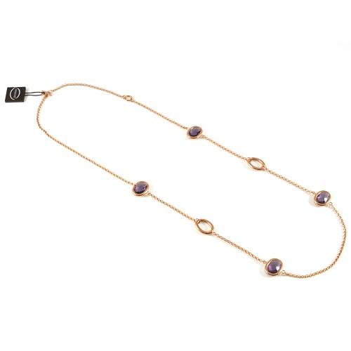 unoaerre collana oro rosa con pietre colorate