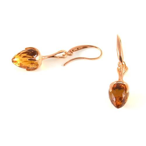 unoaerre orecchini oro rosa pendente goccia sfaccettata