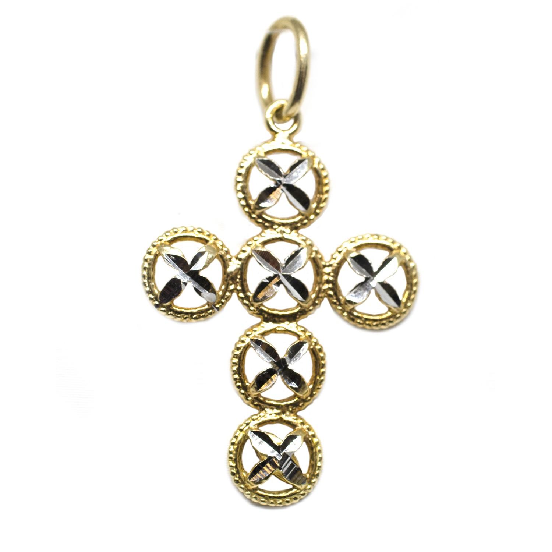 Ciondolo Croce Intarsiato Oro Giallo e Oro Bianco cod croce0010