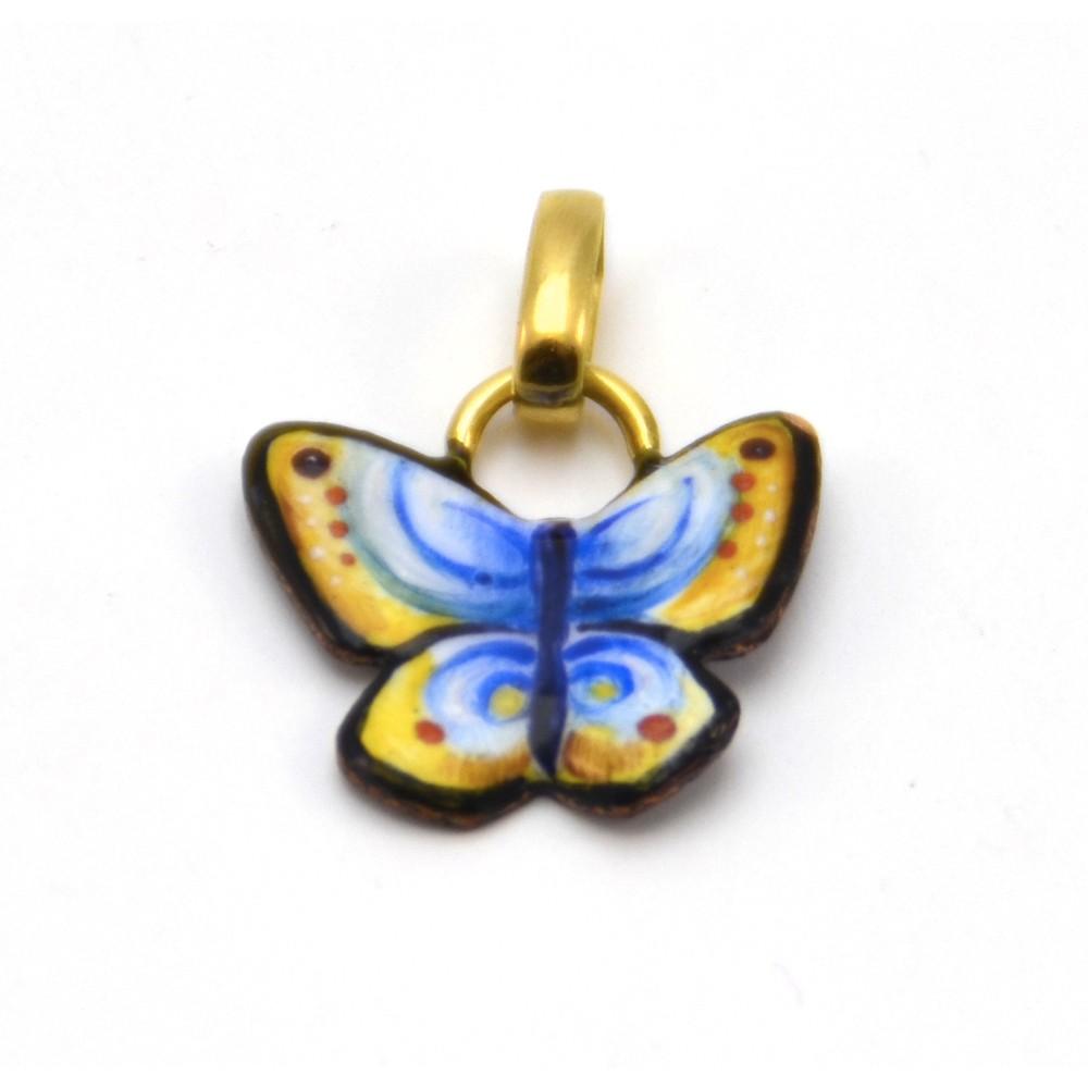Ciondolo a Farfalla Gialla ed Azzurra
