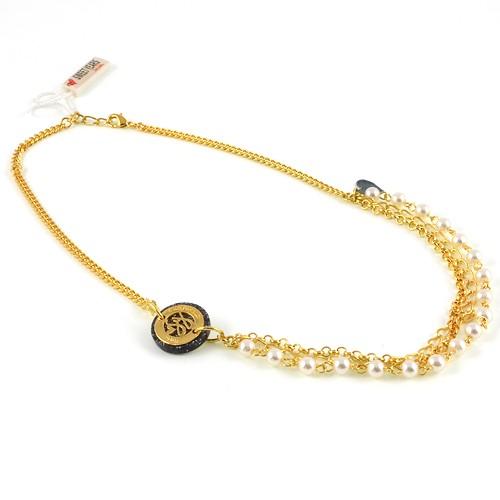 sweet years collana in argento dorato con perle di cristallo