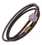 Bracciale in silicone bicolore, argento placcato e quarzo lilla Le Corone